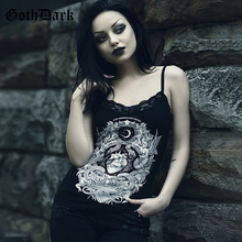 Goth Dark Black Print Punk Grunge Gothic Tops Vintage Patchwork  Lace Harajuku Backless Transparent Tshirt Autumn 2019 Hole Sexy