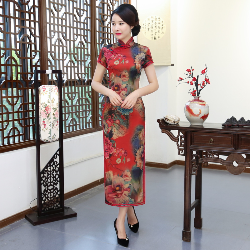 f4b922b369869 Hot Sale Female Rayon New Chinese Traditional Dresses Flower Qipao Printed  Mandarin Collar Slim Sexy ...