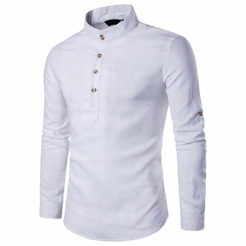 ZOGAA 男性長袖シャツの男性のビジネスアンダーシャツ男性スタンド襟シャツ男性スリム純粋な色のシャツ 2019 新