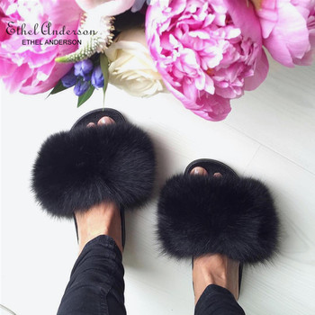 Ethel Anderson Fluffy Slippers Real FOX Fur Slides Indoor Flip Flops Casual Shoes Woman Raccoon Fur Sandals Vogue Plush Shoes 1