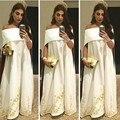 Elegante Vestido de Noche Sin Tirantes Con El Cabo Afric Apliques Vestido de Noche Del Hombro Formal Prom Vestidos de Noche 2016