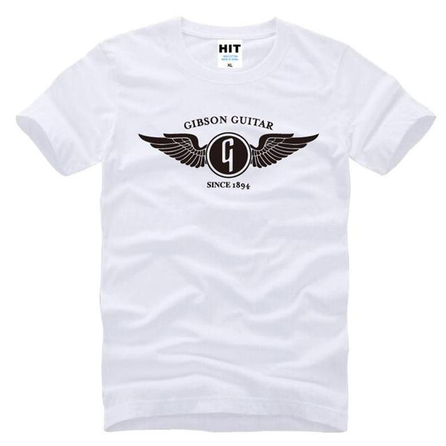 Music Gibson Guitar Flying G Logo Printed Mens Men T Shirt Tshirt 2016 New Short Sleeve Casual T-shirt Tee Camisetas Hombre