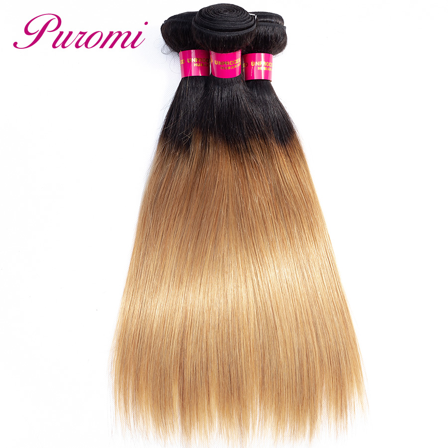 Ombre Straight Wave Hair 3 Bundles 1b/27 Brazilian Hair Wave Bundles Puromi 100% Remy Hair Extensions 3 pcs-in Hair Weaves from Hair Extensions & Wigs    2