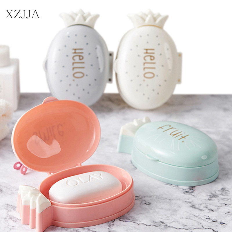 XZJJA Creative Fruit Pineapple Soap Box Portable Travel Soap Container Bathroom Soap Drain Holder Case Bathroom Accessories