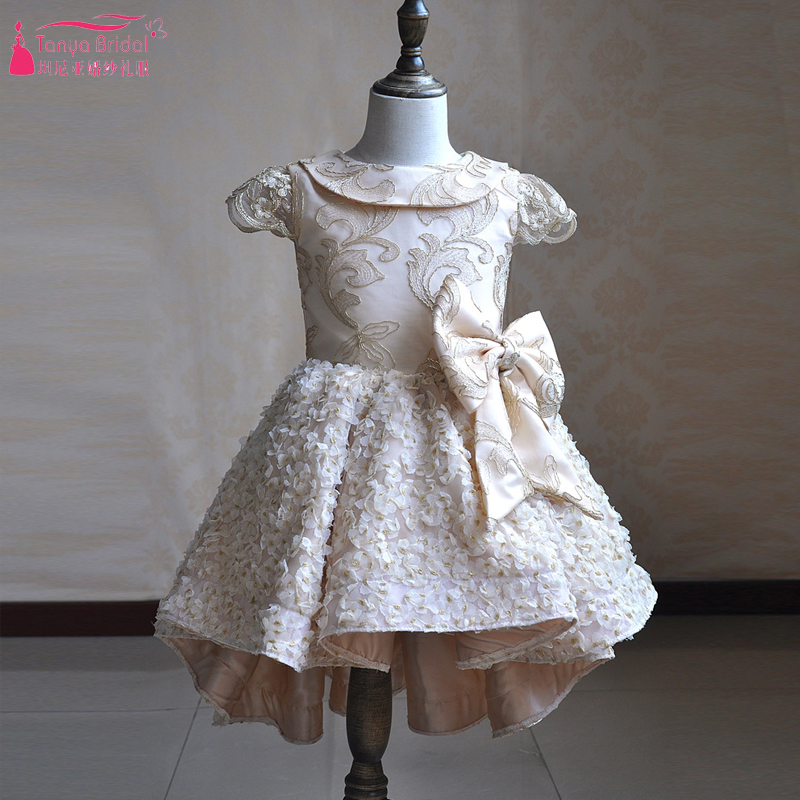 Champagne Princess   Flower     Girls     Dress   For Wedding Party Cut Kid Bow vestido de daminha satin   dress   ZF092