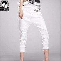 High Quality New Arrivals Women Pants White Pants Elastic Waist Women Pencil Harem Pants Linen Pants