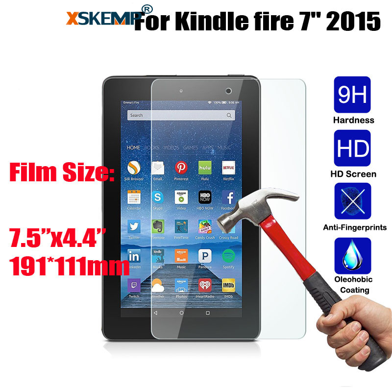 XSKEMP 9H 0.3mm Screen Protector Scratch Proof Tempered Glass For Kindle Fire 7