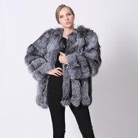 Silver Fox Abrigos de Piel Real de Las Mujeres Rusas 2017 Caliente Nueva chalecos Ropa de Piel Genuina Outwear Chaquetas de Invierno de piel de Zorro Natural femenino