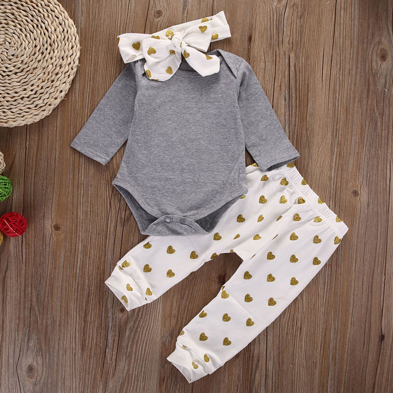 Fashion Spring Fall Girl 3 Piece Set Long Sleeve Romper + Pants + Headband Suit Heart Printed Infant Baby Clothing YH-17