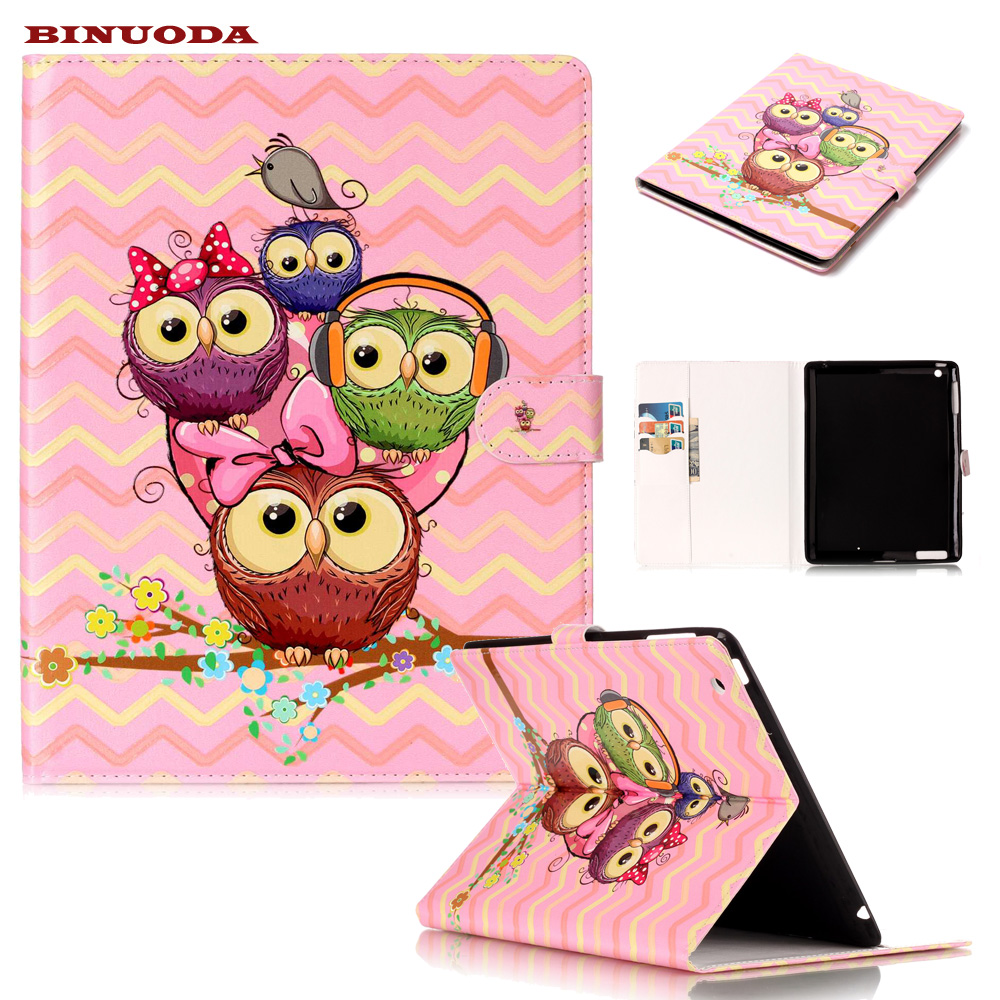 For iPad 2 Case Lovely Owl Print PU Leather Magnetic Auto Sleep Wake up Function Folio Flip Smart Case Cover for iPad 4 3 2