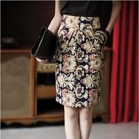 Clearance price summer women's formal career print skirts high waist elegant slim bust skirt knee-length skirts QY13032243