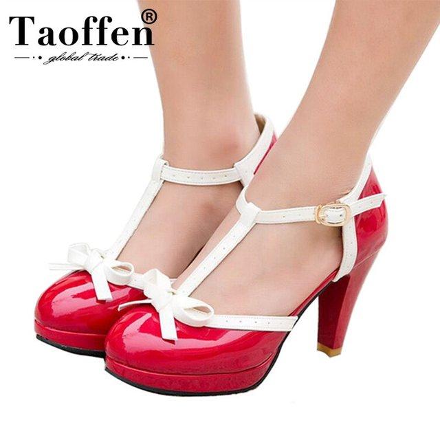 1e491b125 Tamanho 32-48 TAOFFEN Mulheres Sandálias de Salto Quadrado Dedo Do Pé  Redondo Sapatos de