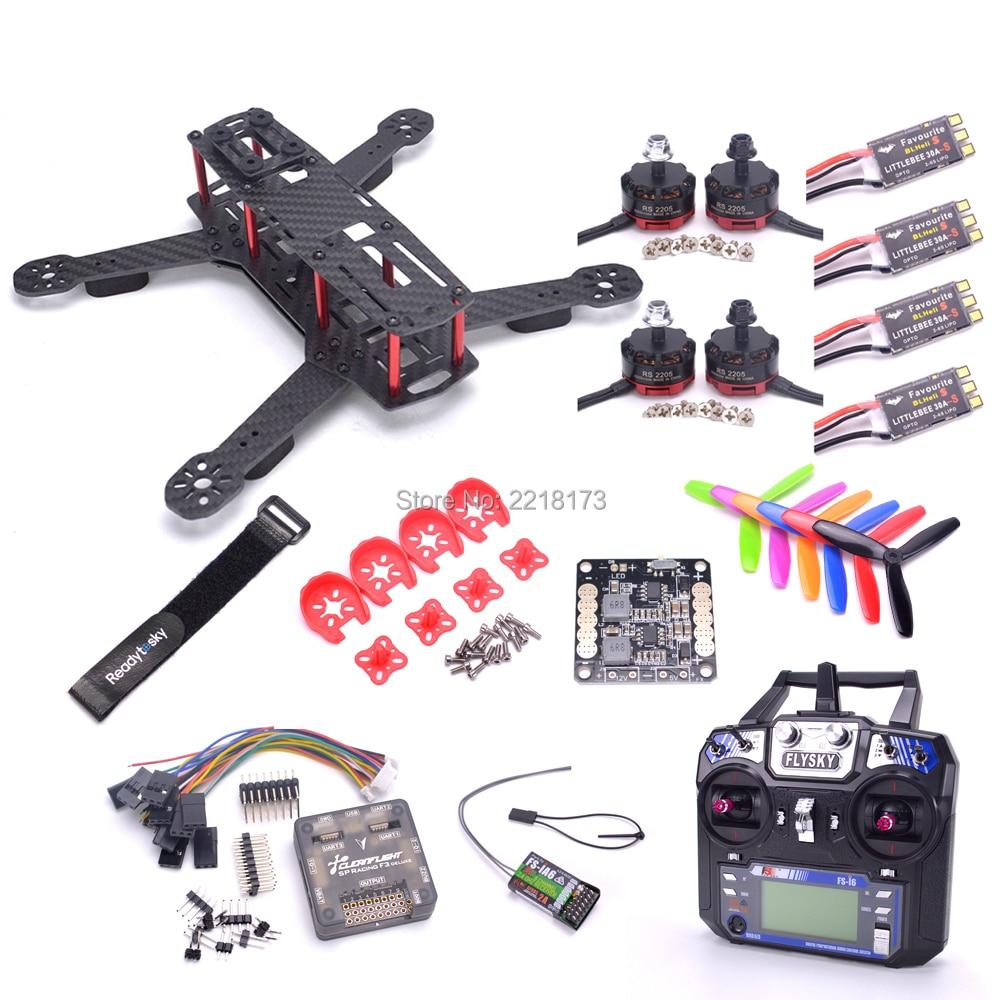 Carbon Fiber QAV250 250MM Quadcopter Frame F3 Acro Flight Controller RS2205 2300KV 2-4s Littlebee BLHeli-s 30A ESC Flysky FS-I6 цены