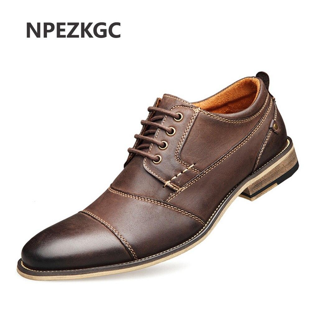NPEZKGC Brand Men Shoes Top Quality Oxfords British Style Men Genuine Leather Dress Shoes Business Formal Shoes Men Flats