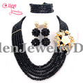 2017 New African Beads Jewelry Set Nigerian Wedding statement necklace Set Crystal Beads Black Bracelet Earring E1118