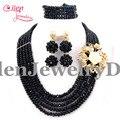 2017 Nuevo Conjunto Nigeriano Boda Perlas Africanas Joyería Conjunto Bolas de Cristal collar llamativo Negro Pulsera Pendiente E1118