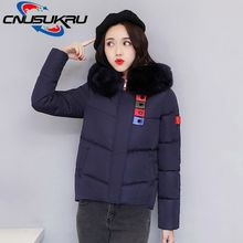 Winter Coats Ladies Women Jacket Quilted Pockets Fur Hooded Wadded Female  Outwear Short Thick Down Cotton-Padded Jacket Parkas