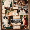 Cute Cat Cotton Tapestry American Pastoral Knitting Sofa Towel Quality Art Fringed Tapestry Rectangle Lace Illustration