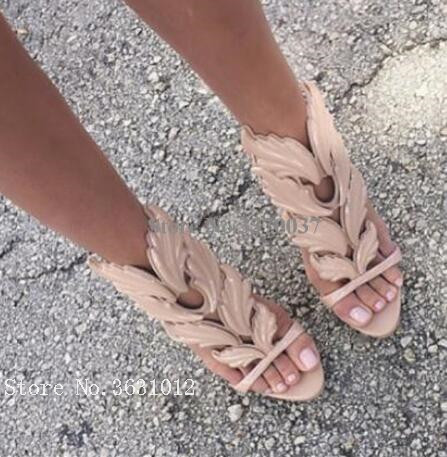 2018 Summer Colorful Wing Crystal Metallic Leather Leaves Sandals Open Ankle Strappy Cage High Heels Flats Buckle Women Shoes hottest golden metallic leather wing sandals silver gold red gladiator high heels shoes women metallic winged sandals