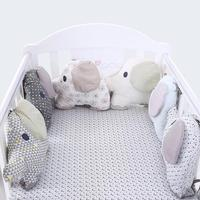 Cute Cartoon Elephant Breathable Baby Bed Around Embroidered Cotton Baby Cushion Baby Bedding Bed Bumper Creative Hold Pillow