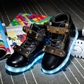 New Kids Cool USB Charging LED Light Sports Shoes PU Leather Casual Boy&Girl School Luminous Antiskid Bottom Children Sneakers