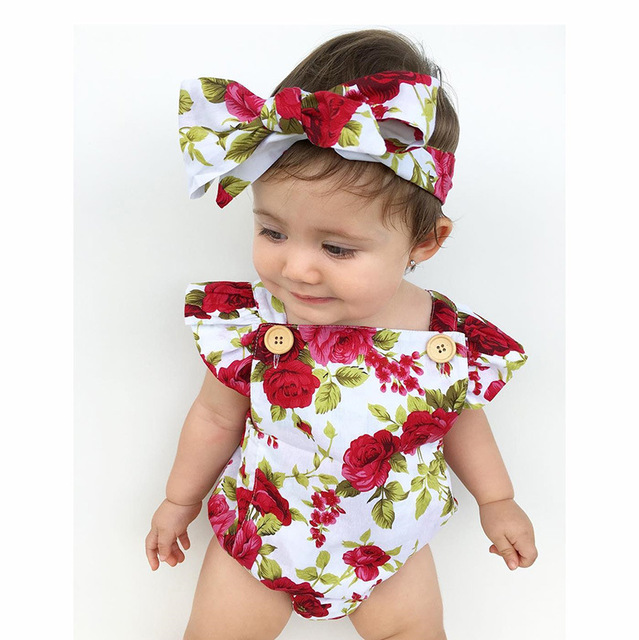 cb79ee8eb fashion summer newborn clothing baby girl floral flower ruffle romper infant  outfits toddler cloth headbands babygirl