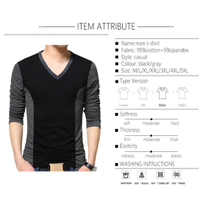Image 4 - BROWON Camiseta de moda para hombre, camiseta con diseño de retales de Color, camisetas de algodón para hombre, camiseta de manga larga con cuello en V para hombre