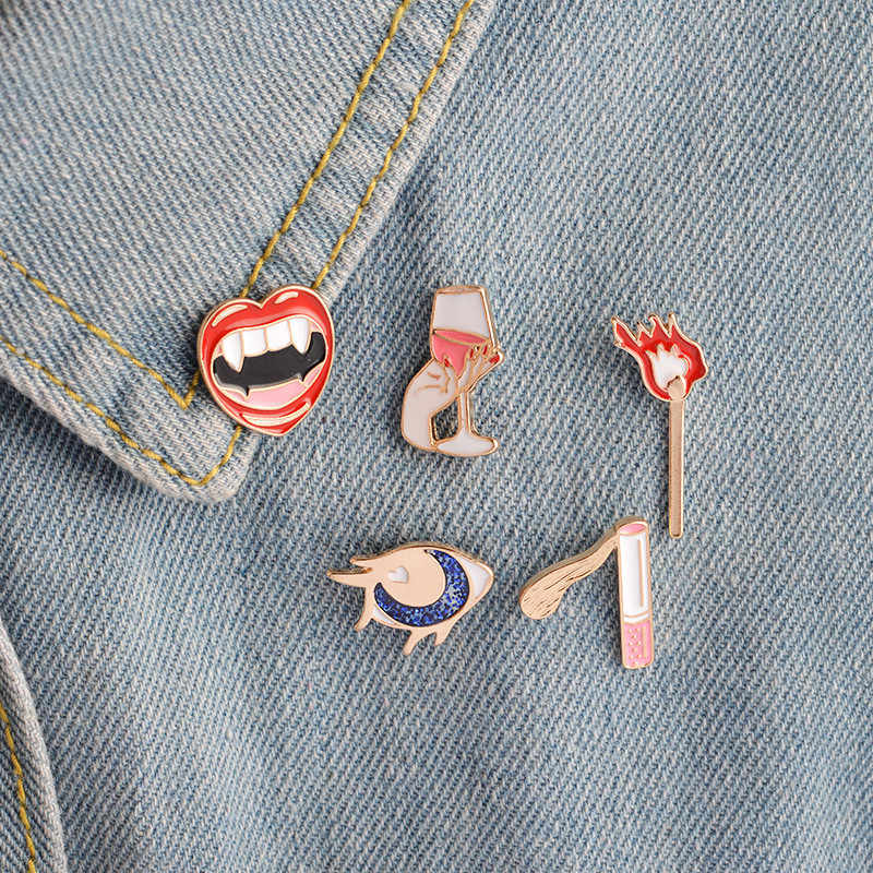 5pcs/set Enamel Brooch Jewelry Matches Cigarettes Mouth Ghost tooth Goblet Moon Brooches Women Badge Coat Badge Corsage Pin