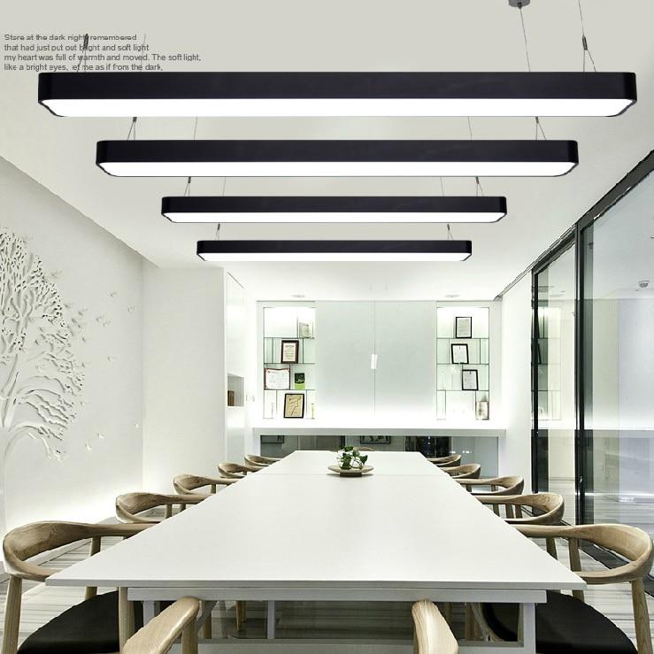 Us 110 0 Modern Office Light Pendant Lights Simple Led Long Strip Aluminum Rectangular Commercial Lighting Market Ultra Thin Bg5 In