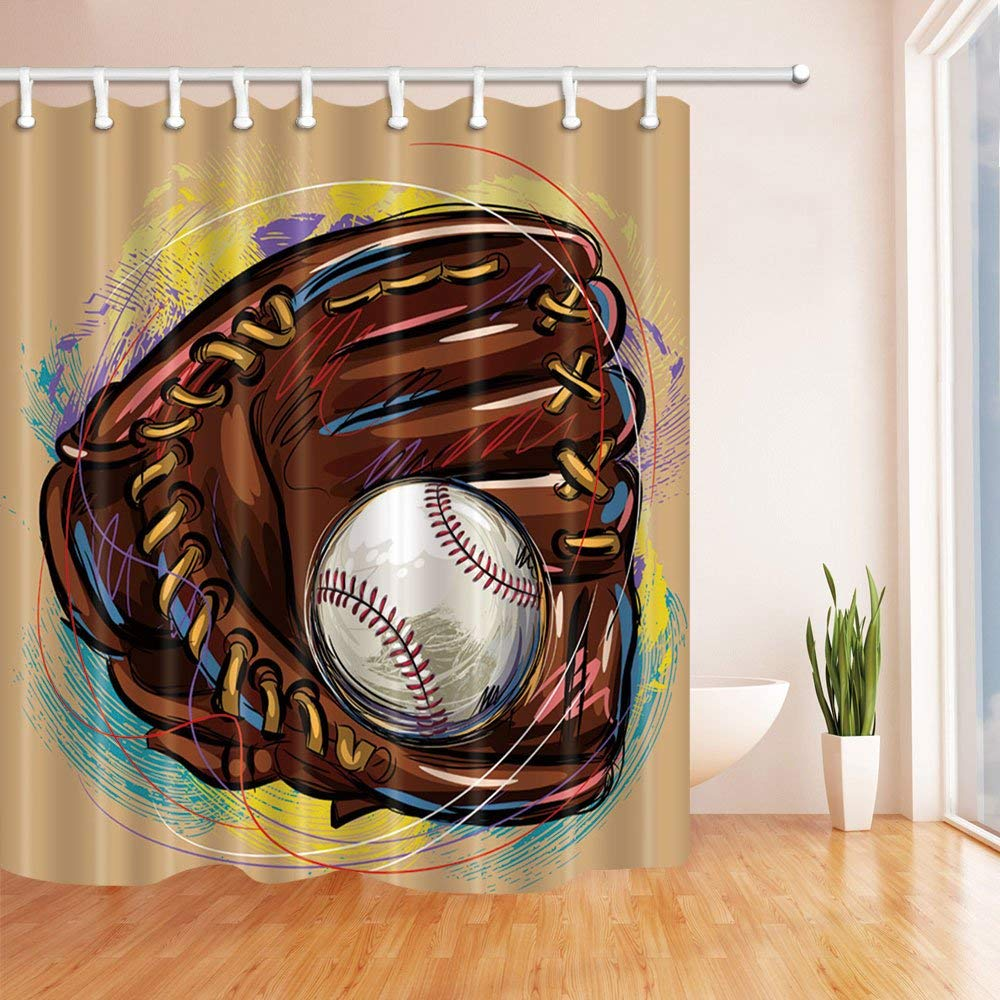 Red And Brown Shower Curtain Us 16 77 10 Off Sport Baseball Pattern Theme Shower Curtain Brown Baseball Gloves Holding White Baseball Red Yellow Purple Blue Waterproof In Shower