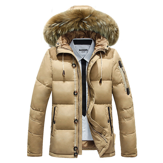 2016 down parka men winter jackets warm outwear fur hooded. Black Bedroom Furniture Sets. Home Design Ideas