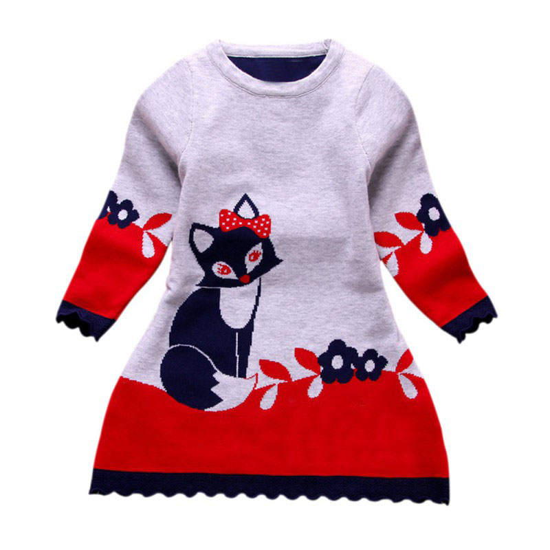 Double-layer Long-Sleeve Autumn Winter Kids Fox Clothing Thick Girl Fox Sweater Dress for Children 4-8 Y