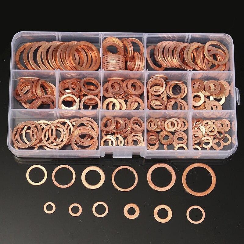 280/200/120/100 piezas de cobre arandela de sellado sólido junta de sumidero macho aceite para barco aplastar lavadora plana anillo de sello herramienta de Hardware Accesorios