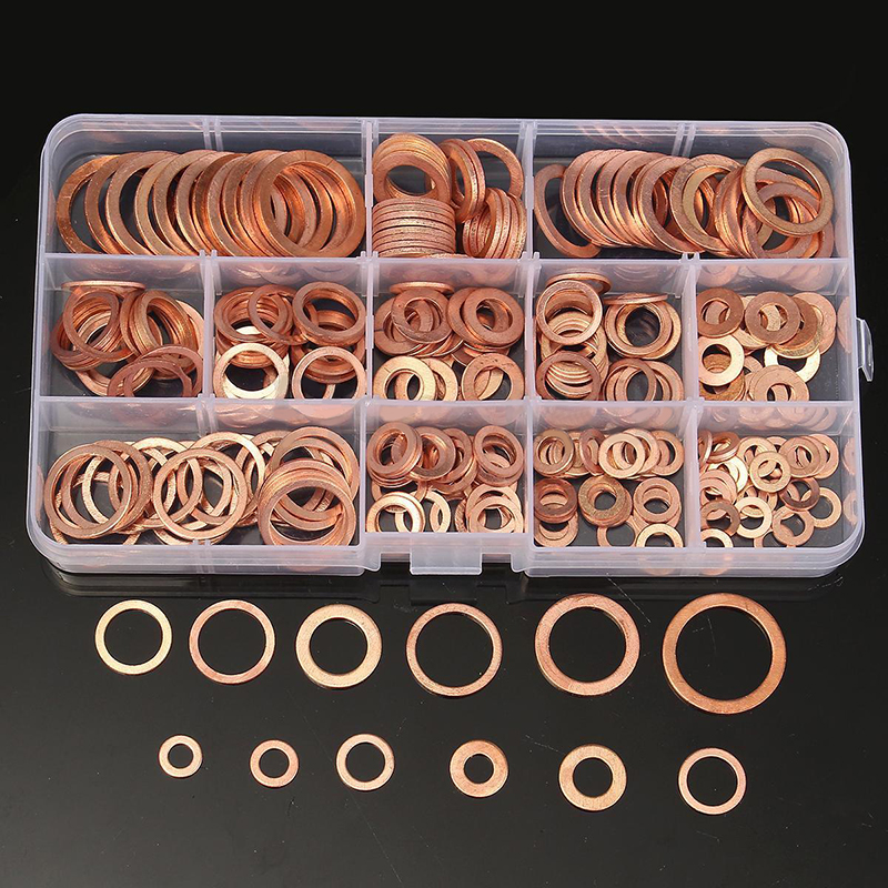 280/200/120pcs Solid Copper Crush Washers 12 Sizes Assorted Seal Flat Ring Set Professional Hardware Accessories kit with box