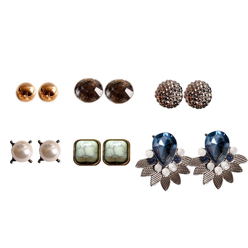 2018 hot fashion women's jewelry wholesale girls birthday party pearl earrings black mixed suit 6 pairs /set earrings gift