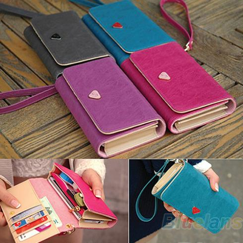 Women Lady Fashion Accessories Envelope Card Coin Wallet Leather Purse Case Cover Bag For Samsung Galaxy S2 S3 Iphone 4S 02NZ