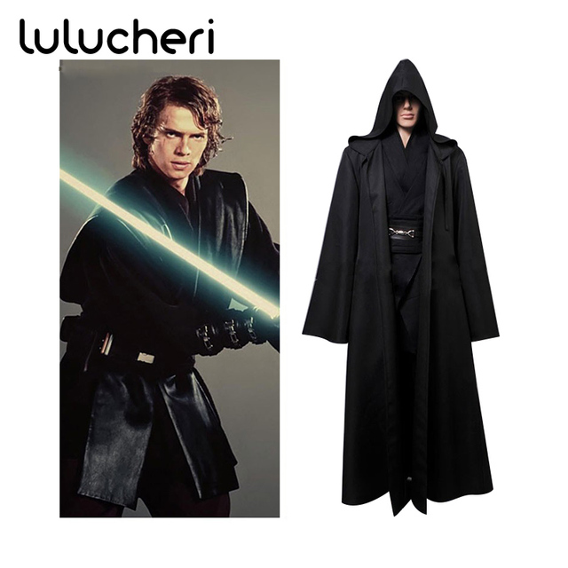 star wars robe anakin skywalker jedi cosplay costume black hoodie cloak man tunic full set halloween