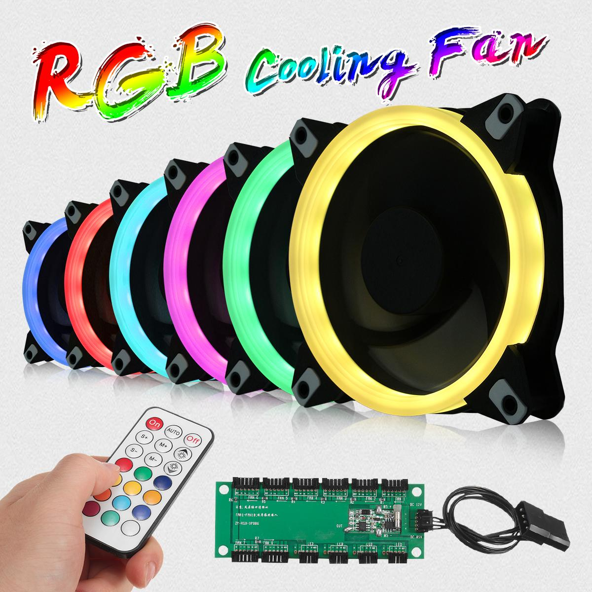 6pcs Computer Case PC Cooling Fan RGB Adjust LED 120mm Quiet + IR Remote New computer Cooler Cooling RGB Case Fan For CPU computer cooler radiator with heatsink heatpipe cooling fan for hd6970 hd6950 grahics card vga cooler