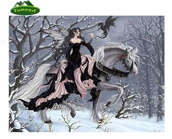 Taladro completo diamante bordado Hada chica mariposa Ángel invierno nieve bosque árbol 5D DIY diamante pintura punto de cruz YHAll