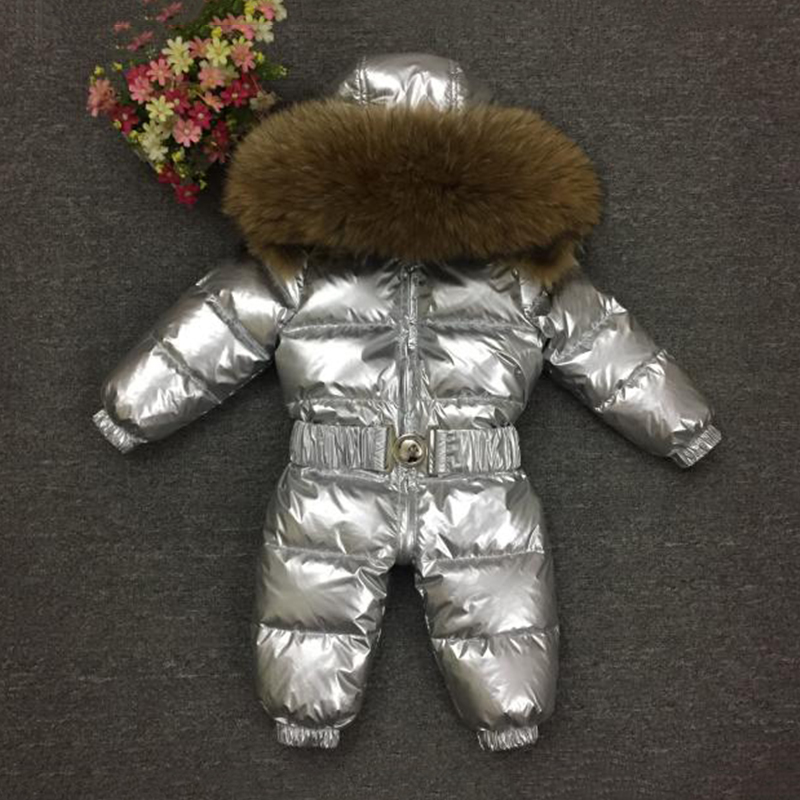 -30 Degree Baby Snowsuit Real Fur Thick Warm Kids Down Jumpsuit White Duck Down Toddler Boys Rompers Infant Girls Down Coat Z407 newborn winter jumpsuit infant boys girls white duck down rompers baby thick warm snowsuit kids climb clothes cyy247