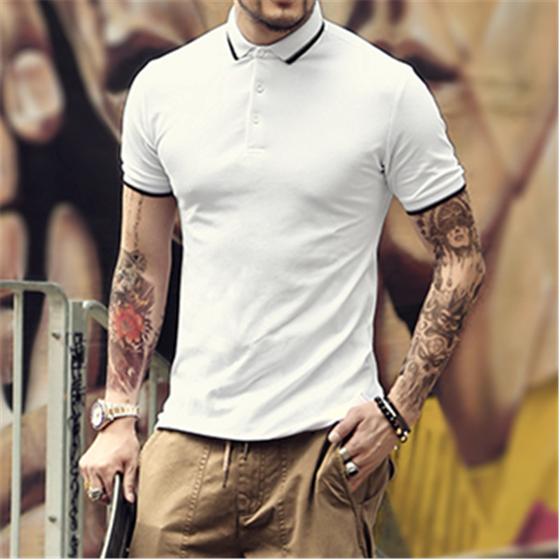 a361bb992be Summer new British wind men  s slim fit polo shirt brand clothing men lapel  short