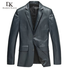 Male leather Jacket Fashion Suit clothing Dusen Klein Brand genuine sheepskin Business male jacket black/Blue 13J1310