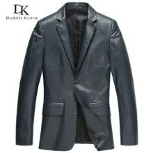Male leather Jacket Fashion Suit clothing Dusen Klein Brand genuine sheepskin Business male jacket black/Blue 13J1310