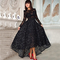 High Low Short Front Long Back Illusion Black Vintage Lace Long Sleeve Prom Dresses 2015 Evening Party Dress Vestidos P9289