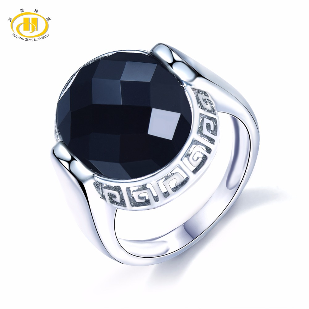 Hutang Stone Jewelry Natural Black Chalcedony Solid 925 Sterling Silver Ring Fine Fashion Gemstone Jewelry Vintage Style Gift