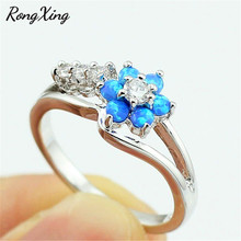 RongXing Fashion Blue/Pink/White Fire Opal Cherry Flower Birthstone Rings For Women Gold Filled AAA Zircon Wedding Jewelry Gift