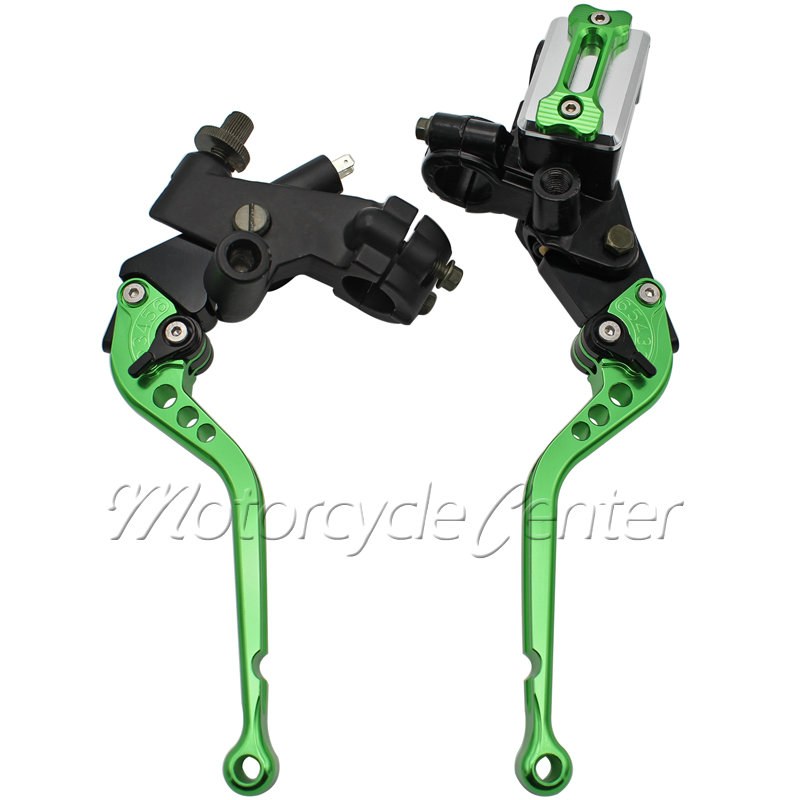 Handlebar 7/8 22mm Motorcycle Master Cylinder Reservoir Long Brake Clutch Levers For Kawasaki Ninja 250R 300 ZX10R ZX6R Green free shipping motorcycle 7 8 22mm clutch lever brake hydraulic master cylinder levers for kawasaki ninja zx 6r 636 zx 10r