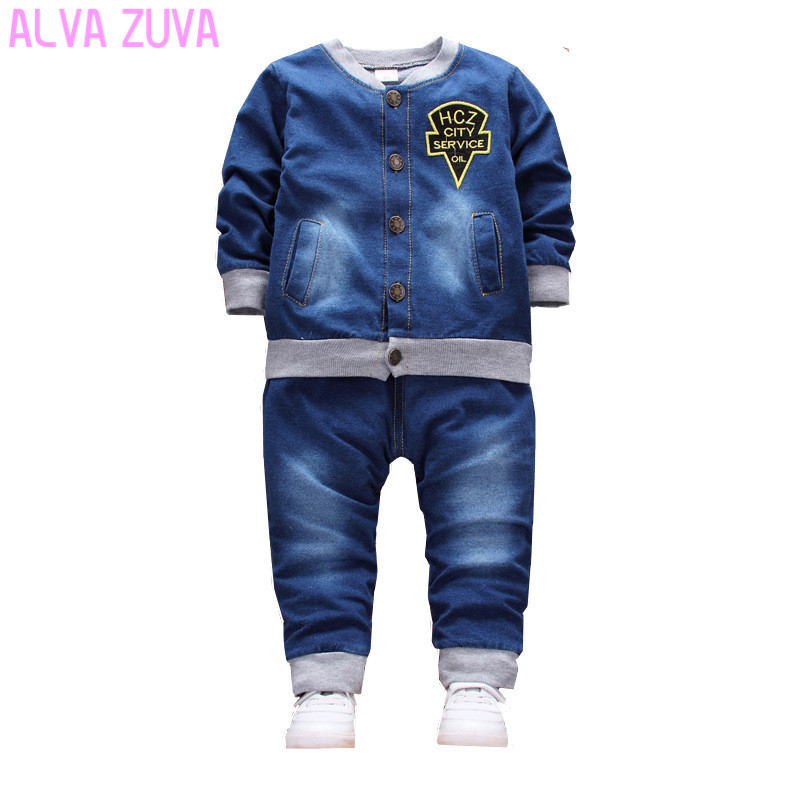 ALVA ZUVA Sping Baby Long Sleeved Clothing Sets Cartoon Boys Girls Denim Coat+Jeans Sand Washing 2 Pcs/Suit Cyf049