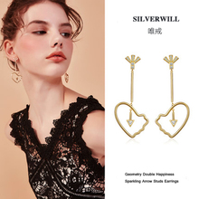 ФОТО silverwill two color options sterling 925 silver big double happiness dangle earrings unisex geometry goods luck gift jewelry