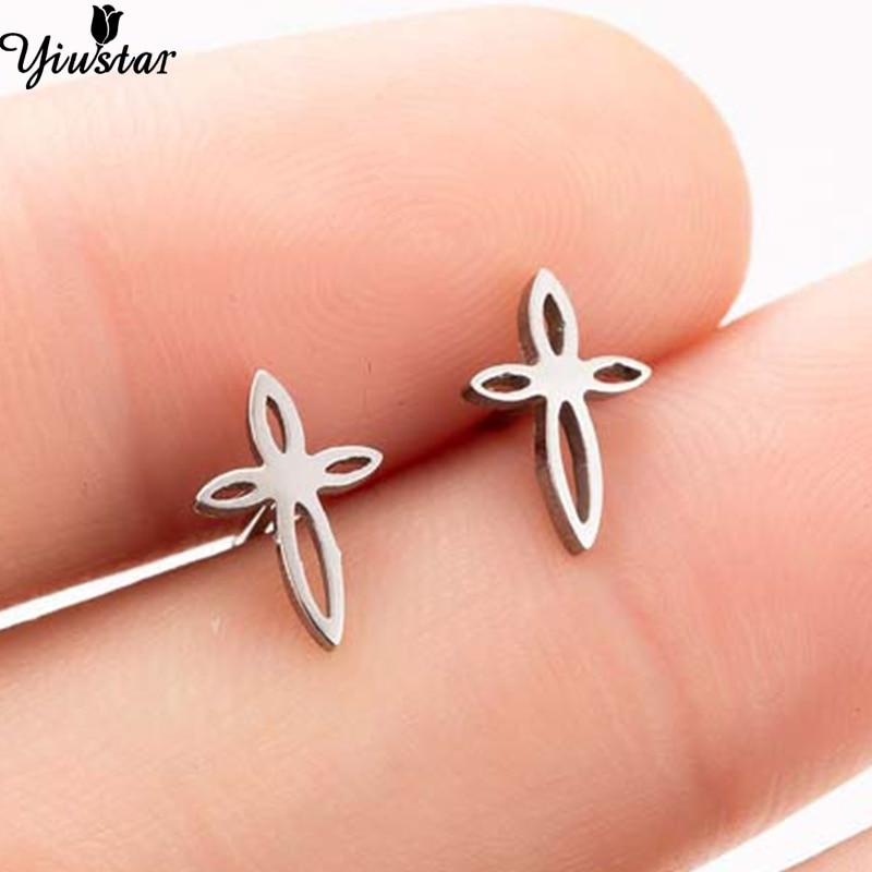 Yiustar Tiny Cute Cherry Shape Religious Cross Earrings Stainless Steel Cross Earing in Stud Earrings Christian Gifts Jewellery
